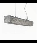 Lustra Quadro, 6 becuri, dulie G9, L:1010 mm, H:200/1000 mm Crom