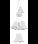 Pendul Hats Clasic, 6 becuri, dulie E27, D:400 mm, H:1150/1300mm, Alb