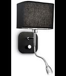 Aplica Holiday, 2 becuri, dulie E14 + LED, L:180 mm, H:400 mm, Negru