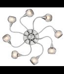 Plafoniera Tender, 8 becuri, dulie E14, D:800 mm, H:90 mm, Transparenta