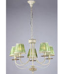 Candelabru Elegant Olivia,5 becuri dulie E14, 230V,D.63cm, H.50 cm,Abajur verde