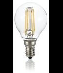 Bec LED Sfera transparent, dulie E14, 4 W - 3000 K, lumina calda