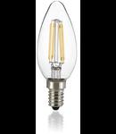Bec LED Oliva transparent, dulie E14, 4 W - 3000 K, lumina calda