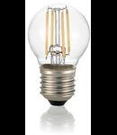 Bec LED Sfera transparent, dulie E27, 4 W - 3000 K, lumina calda