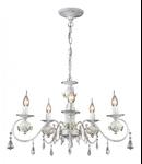 Candelabru Faberge ,5 becuri dulie E14, 230V,D.60cm, H.38 cm,Alb