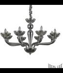 candelabru Casanova, 8 becuri, dulie E14, D:920 mm, H:630/1200 mm, Fumuriu