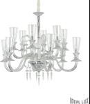 candelabru Beethoven, 12 becuri, dulie E14, D:1150 mm, H:1100/2300 mm, Transparent