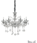 candelabru Colossal, 8 becuri, dulie E14, D:780 mm, H:700/1800 mm, Transparent