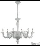 candelabru Ca' Rezzonico, 6 becuri, dulie E14, D:950 mm, H:900/1950 mm, Alb
