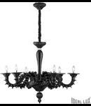 candelabru Ca' Rezzonico, 6 becuri, dulie E14, D:950 mm, H:900/1950 mm, Negru