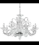 candelabru Palmares, 8 becuri, dulie E14, D:600 mm, H:900/1700 mm, Transparent
