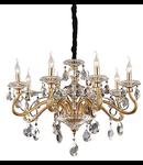 candelabru Negresco, 8 becuri, dulie E14, D:760 mm, H:700/1100 mm, Auriu