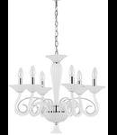 candelabru Maximilian, 6 becuri, dulie E14, D:600 mm, H:800/1500 mm, Alb
