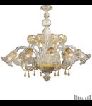 candelabru Ca' D'oro, 8 becuri, dulie E14, D:850 mm, H:700/1150 mm, Chihlimbar