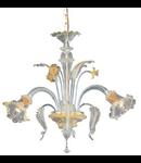 candelabru Rialto, 3 becuri, dulie E14, D:600 mm, H:660/1050 mm, Chihlimbar