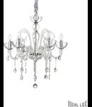 candelabru Canaletto, 6 becuri, dulie E14, D:620 mm, H:700/1650 mm, Transparent