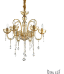 candelabru Canaletto, 6 becuri, dulie E14, D:620 mm, H:700/1650 mm, Chihlimbar