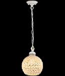 Lampa suspendata Keramos,1 bec dulie E27, 230V,D.18 cm, H.41 cm,Alb-Auriu