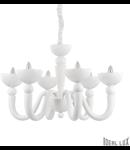 candelabru Bon Bon, 6 becuri, dulie E14, D:850 mm, H:800/1000 mm, Alb