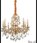 candelabru Gioconda, 8 becuri, dulie E14, D:730 mm, H:950/1200 mm, Auriu