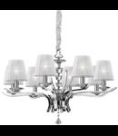 candelabru Pegaso, 8 becuri, dulie E14, D:760 mm, H:660/1500 mm, Crom