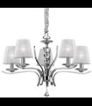 candelabru Pegaso, 5 becuri, dulie E14, D:720 mm, H:620/1500 mm, Crom