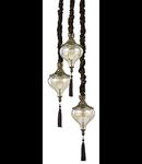candelabru Harem, 3 becuri, dulie E27, D:330 mm, H:450/1260 mm, Alama