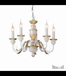 candelabru Firenze, 5 becuri, dulie E14, D:550 mm, H:450/1050 mm, Alb