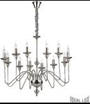 candelabru Artù, 12 becuri, dulie E14, D:860 mm, H:980/1800 mm, Nichel