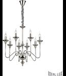 candelabru Artù, 8 becuri, dulie E14, D:700 mm, H:900/1750 mm, Nichel