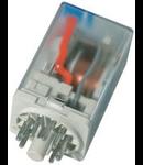 releu fisabil standard cu 8 pini, 2 contacte comutatoare, 12V, CC, cu dioda pentru mers in gol