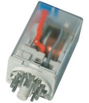 releu fisabil standard cu 11 pini, 3 contacte comutatoare, 110V, CC, cu dioda pentru mers in gol