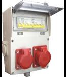Tablou de santier echipat cu o priza industriala monofazata de 16 A, o priza industriala 230V de 32 A si 2 prize shuko de 16 A