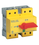 Separator de sarcina cu montare pe sina DIN, 4P, 5 module, rosu/galben, 63A
