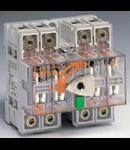 Separator de sarcina cu montare pe sina DIN fara maner pentru panouri electrice, 4P, 5 module, transparent, 125A, cu protectie cablu inferior IP 20