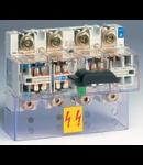 Separator de sarcina cu montare pe sina DIN, 4P, 8 module, transparent, 200A