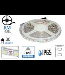 Banda LED - 30 LED-uri/m, alb cald, rezistent la apa, 4.8W/12V