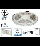 Banda LED - 30 LED-uri/m, alb cald, non-rezistent la apa, 4.8W/12V