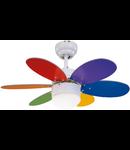 Lustra  cu ventilator 1 bec , 3 viteze Rainbow  Multicolor 76cm X-28-38cm