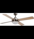 Lustra  cu ventilator 2 becuri E27 3 viteze Cross Nichel 122cmx30-44cm