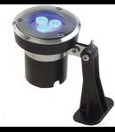 Lampa pentru fantana arteziana cu LED lumina multicolora  RGB IP68, 3x1W, 1 x ROSU, 1 x VERDE, 1 x ALBASTRU