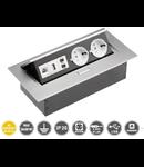 Priza pentru montare in blat mobilier echipare cu 2 x Priza schuko  230V + USB+ 2 mufe audio