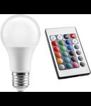 Bec cu LED-uri RGB - 8W si telecomanda E27 A60