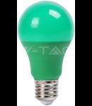 Bec cu LED verde  - 9W E27 A60 termoplastic lumina verde  VT-2000