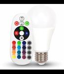 Bec cu LED RGB + W 2700k cu telecomanda  - 6W E27 A60 termoplastic VT-2022