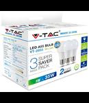 Set 3 Becuri cu LED-uri - 5W E27 A60 termoplastic lumina superioara  alb neutru 4500K, VT-2055,420 lumeni