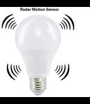 Bec LED cu senzor miscare 10 W, soclu E27 ,alb neutru 4000K