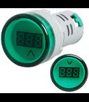 Lampa semnalizare cu Voltmetru digital inclus, Verde 230V