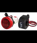 Lampa semnalizare cu Voltmetru digital 12-500V si Ampermetru 0-100A, Rosu 230V