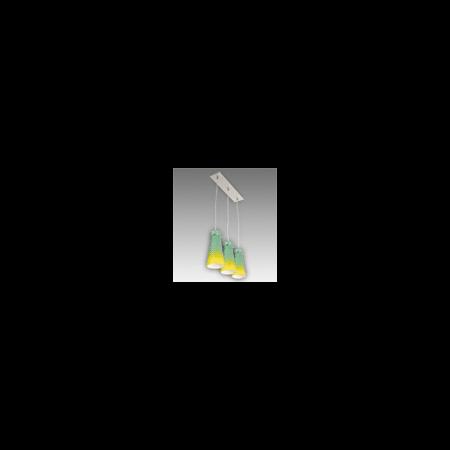 Lustra Equa 13 cu 3 becuri Brilux crom satin / portocaliu-albastru Brilux